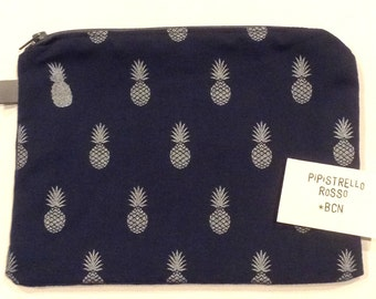 Estuche de tela para lápices, estuche de tela para cosméticos, estuche piñas / Fabric pencil case or cosmetic bag, pineapples pencil case