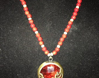 Red and Gold Jewel Pendant Necklace