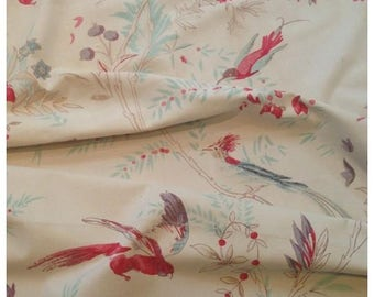 So beautiful and wonderful rare 1800s  antique French charming hand blocked indiennes bird floral fabric~ projects~just stunning!