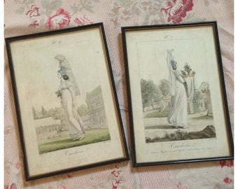 Beautiful pair of rare framed early 1800s Cauchoise hand tinted regency antique French fashion plates