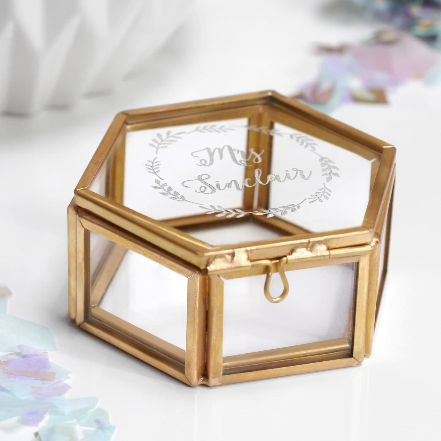 Personalized Engagement Gift, Glass Hexagon Jewelry Box, Vintage Style, Custom Wedding Gift, Personalised 'Mrs' Hexagon Jewellery Box