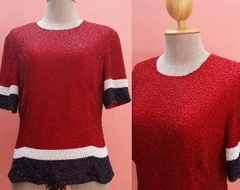 Red Sequin Top Sequin Blouse Beaded Top Beaded Blouse Short Sleeve Top Size M Medium