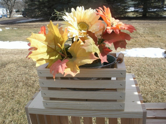 Small wood crate centerpiece wooden