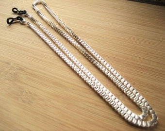 Mens Glasses Chain, Silver eyeglasses chain for Spectacles.  Silver Plated Box Link Chain, UK handmade. Eye wear Accessories