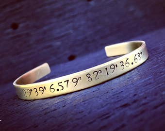 Custom Coordinates Brass Cuff Bracelet | Latitude Longitude Jewelry | Location GPS Coordinates Gift | Wedding Or Anniversary Jewelry Gift