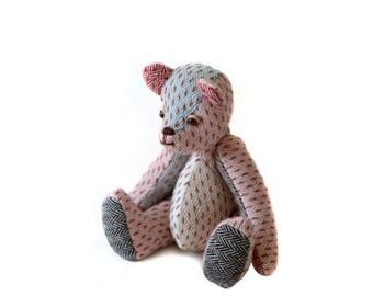 Tweed Patchwork Stuffed Teddy Bear /Handmade Retro Style Bear