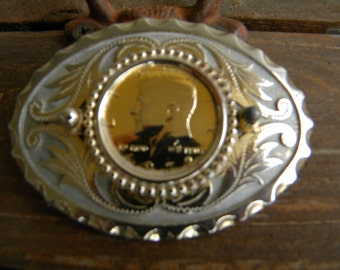 Belt Buckle  - Gold Plated John F. Kennedy Half Dollar Western Belt Buckle. Vintage