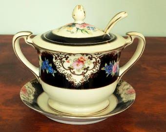 Noritake Jam Jar Ladle Underplate Hand Painted China
