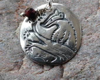 Badger handmade fine silver pendant with garnet semi precious stone on sterling silver chain, badger gift, badger jewellery, nature jewelry