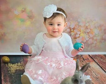 Newborn vintage floral photography backdrop, Floral painted photo background for photoshoot, Customize photo props CM-5157