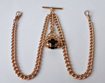 Gold Plated Double Albert Pocket Watch Chain + Spinner Fob.