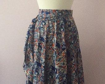 1970s 70s Long Wrap Maxi Skirt | Maxi Boho Hippie Wrap Skirt | Bohemian Batik Long Maxi Skirt
