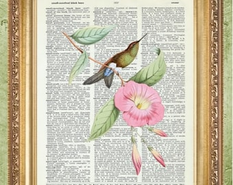 Bird Art Print Bird Wall Decor Sheet Music Print Hummingbird Art Print Hummingbird Wall Art Bird Dictionary Print