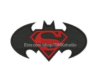Batman Superman Logo Machine Embroidery Design - 5 Sizes - INSTANT DOWNLOAD