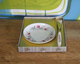 Vintage 1950s Giftex Myott Staffordshire Jam Dish  and Knife Original Box - Made in England