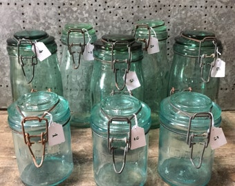 Choose! L'Ideale / Solidex French Vintage Green Glass Storage Jar / Canning Jar With Clip Top Lid