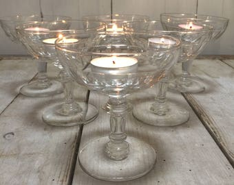 Early 20th C Set of 2 Handmade French Crystal Champagne Saucers, Champagne Coupes, Champagne Glasses
