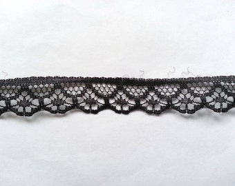 """10 Yards of Half Inch Wide Black Lace Ribbon/ 10 Yards of 1/2 Inch Black Lace Trim 0.5"""" (1.3 cm)"""