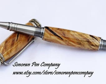 Majestic Jr. Pewter and Antique Brass Spalted River Birch Rollerball Pen