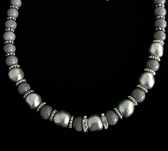 "Malaysian ""Jade"" and Swarovski Pearl Necklace B6151774"