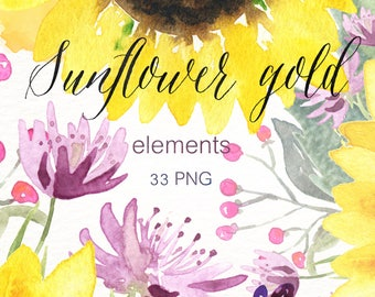 Sunflower gold watercolour clipart, hand drawn. Elements. Sunflower, rustic wedding, bright, yellow flowers invitations, pink lupin.