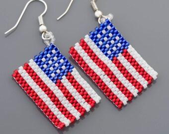 4th of July American Flag Patriotic Seed Beads Earrings 90101001