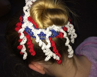 Crochet Hair Scrunchie. Ponytail Band. Hair Tie. Stars and Stripes. 4th July
