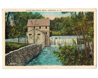 Cornish New Hampshire vintage postcard | Blow-Me-Down Mill, Saint-Gaudens National Historic Site | 1930s NH travel decor, vacation souvenir