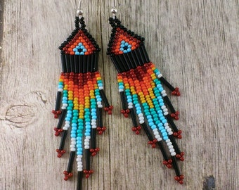 Chandelier earrings Black boho earrings Mom gift from daughter Tribal earrings Beaded earrings Native earrings Gypsy earrings Black earrings