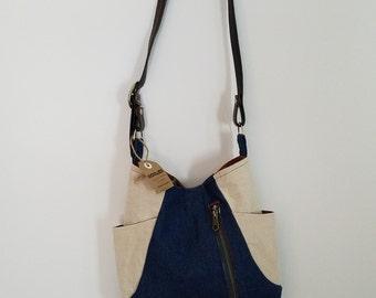 5 Pocket Upcycled Denim and Linen Bag