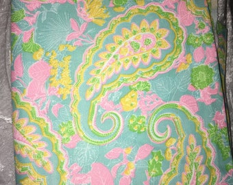 Large paisley print, bright 4 colors fabric, 44 inches x 2 yards