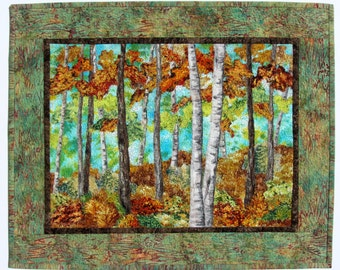 Landscape Quilt Trees, Quilt Wall Hanging, Wall Quilt Birches, Fabric Collage, Textile Wall Art Trees, Nature, Art Quilt, Small Wall Quilt