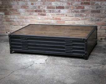 Flat File Industrial Coffee Table | Handmade Steel Drawers Riveted Cabinet | Wood | Office Storage