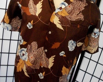 TRM Hawaii colorful brown vintage floral mod men's retro shirt l xl xxl
