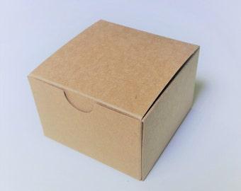 25 4x4x3 inch Kraft Brown Gift Box Tuck Top