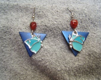 Gift Idea, Dragonfly, Butterfly Earrings, Insect Earring, Insect Jewelry, Boho, Silver, Turquoise, Lapis, Free Shipping*, #80308-1