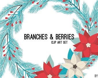 Christmas Clipart Branches Berry Flower Wreath Turquoise Blue Coral Holiday Commercial Use Graphics Digital Clip Art Digital Images PNG