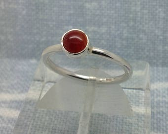 Carnelian ring, silver, handmade, gift boxed, free post. Stacking ring. Stackable ring.