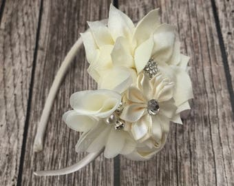 ivory headband, flower girl headband, flower girl, floral headband,