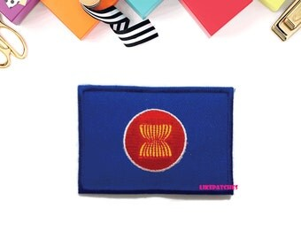 AEC Asean Economic Community Flag Logo Sign New Sew on / Iron On Patch Embroidered Applique Size 7cm.x4.8cm.