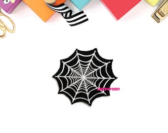 Spider Web Black Patch New Sew / Iron On Patch Embroidered Applique Size 8.2cm.x7.4cm.