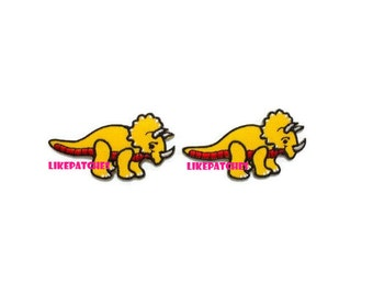 Set 2 pcs. Triceratops Yellow Dinosaur New Sew / Iron On Patch Embroidered Appliques Size 5.9cm.x3.2cm.