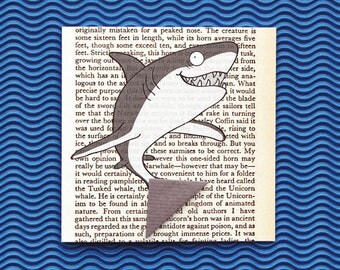 Shark Card with Bookmark – Fish Birthday Card – Blank Greetings Card for Any Occasion – Book Lovers Card – Origami Bookmark