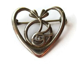 1995 sterling silver heart brooch, Charles Rennie Mackintosh, Glasgow Rose, Carrick Edinburgh Scotland hallmark, vintage Scottish pin, #1004