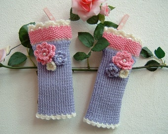 Hand made mittens-fingerless knitted gloves-lilac, pink and white wool cuffs-tricot warmer
