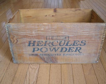Antique - HERCULES EXPLOSIVE POWDER Wood Crate - Mining - Advertising - Original