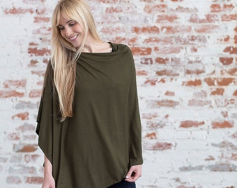 Olive Green Nursing Cover | Breastfeeding Green Nursing Poncho| Neutural Nursing Covers