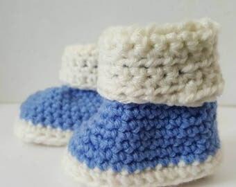 BABY BLUE BOOTIES, Crochet Baby Booties, Baby Boy.