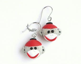 Sock Monkey polymer clay earrings
