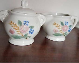 Stoneware Floral Sugar Bowl and Creamer
